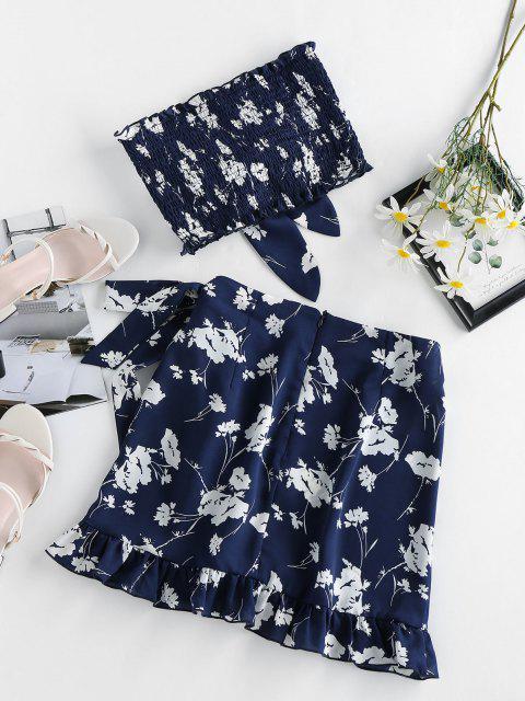 women ZAFUL Flower Tied Smocked Ruffle Bandeau Skirt Set - CADETBLUE M Mobile