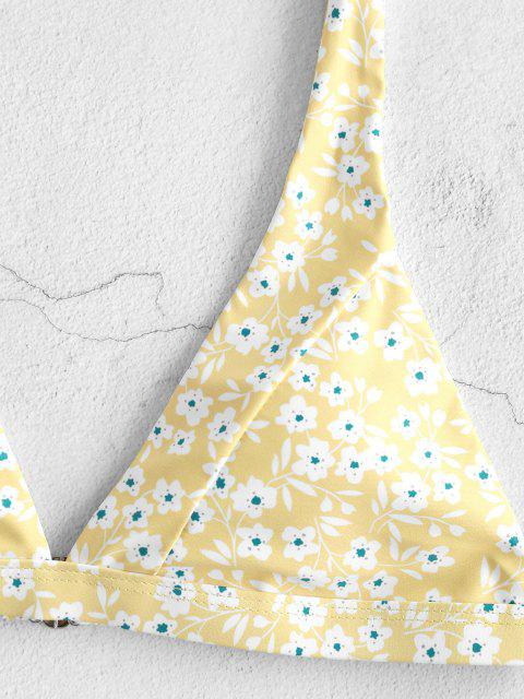 outfit ZAFUL Ditsy Print Plunging High Leg Bikini Swimwear - YELLOW S Mobile