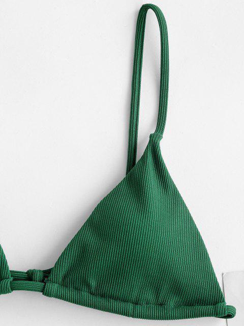 ZAFUL Maillot de Bain Bikini Côtelé Feuille Imprimée Trois Pièces - Vert profond S Mobile
