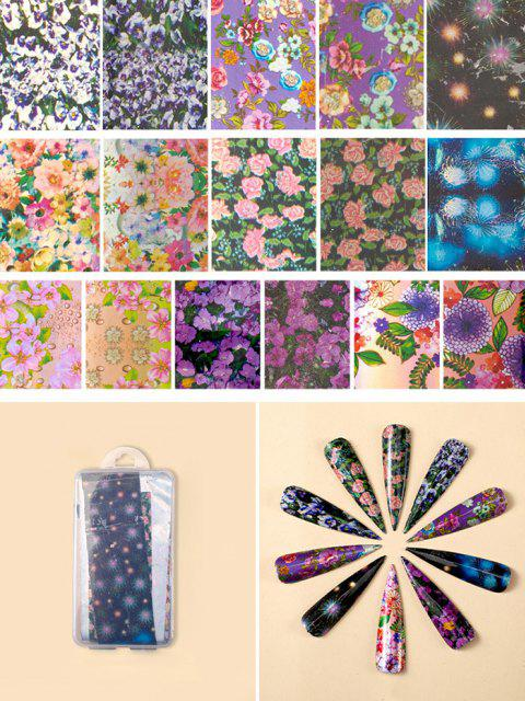 latest Flowers Pattern Nail Beauty Transfer Papers Set - #004  Mobile