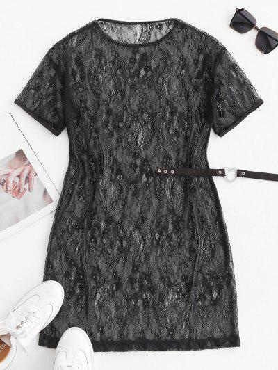 Flower Lace Sheer Mini Tunic Dress - Black L