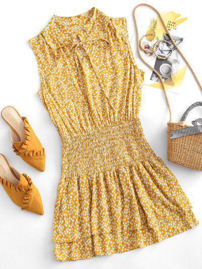 Robe Superposée Fleurie Plissée Nouée à Volants - Orange D'or S