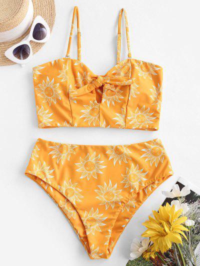 ZAFUL Knot Sunflower Sun Stars Moon Tankini Swimwear - Bee Yellow M