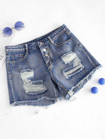 Shorts De Denim Desgarrador Recortado Deshilachado Con Botones - Azul S