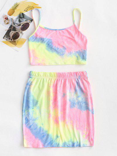 Neon Tie Dye Two Piece Dress - Multi Xl