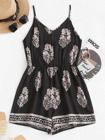 Leaf Print Wide Leg Cami Romper - Black Xl