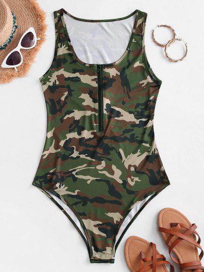 Sleeveless Camouflage Half Zip Bodysuit - Army Green S