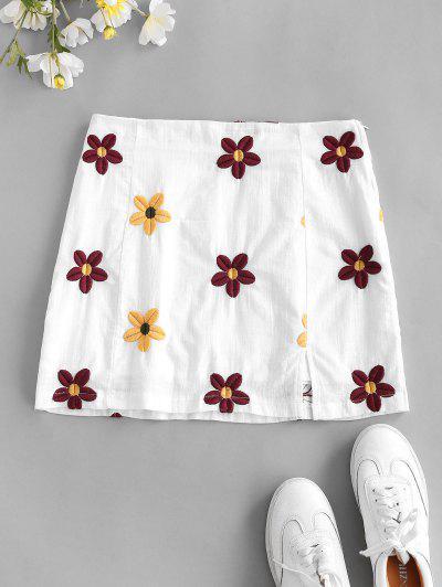 Flower Embroidered Slit A Line Skirt - White S