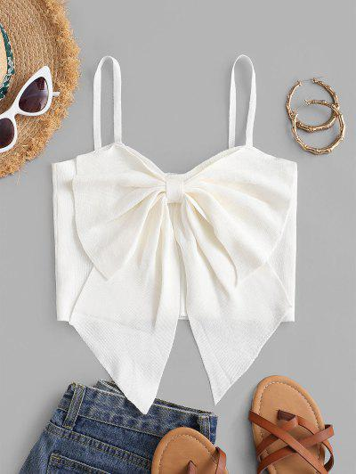 Bowknot Detail Cropped Tank Top - White