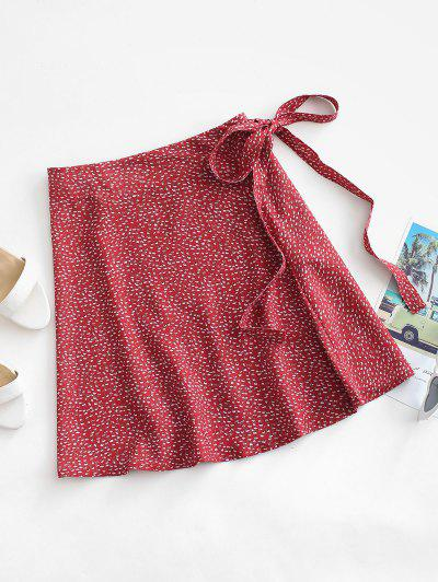 Ditsy Print Wrap Skirt - Red