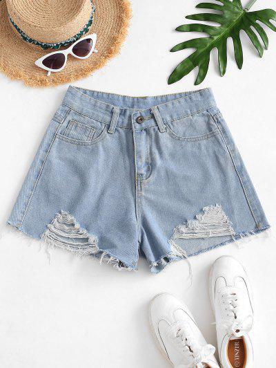 Frayed Shredded Denim Cutoff Shorts - Light Blue S