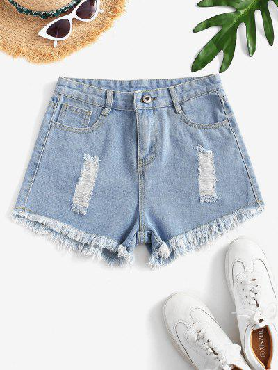 Destroyed Mini Denim Shorts - Light Blue Xs