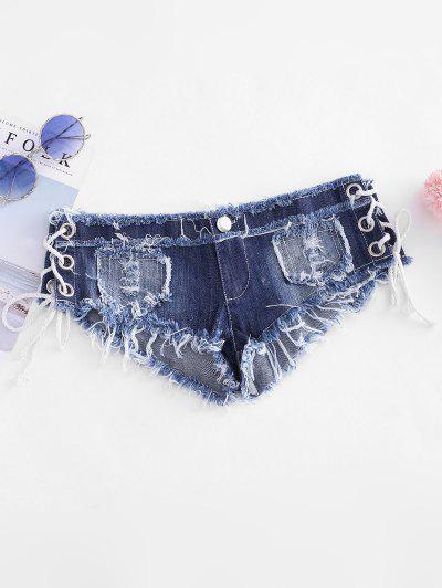 Grommet Lace Up Frayed Micro Denim Shorts - Blue M