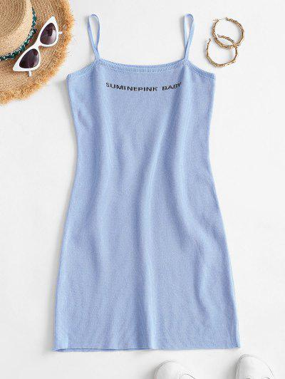 Letter Pattern Spaghetti Strap Sheath Dress - Light Blue