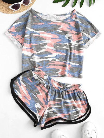 Two Piece Camo Cropped Dolphin Shorts Set - Navy Camouflage S