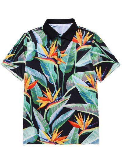 Flower Leaf Printed Short Sleeves T-shirt - Black Xl