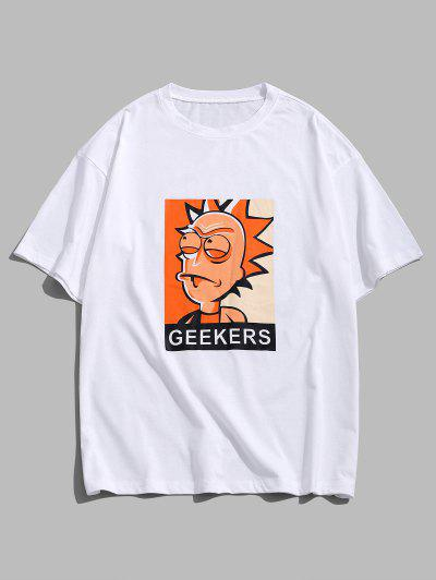 Cartoon Character Print Basic T Shirt - White L