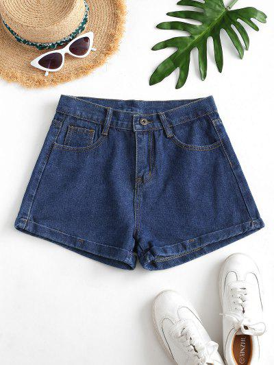 Cuffed Hem Mini Denim Shorts - Denim Dark Blue S