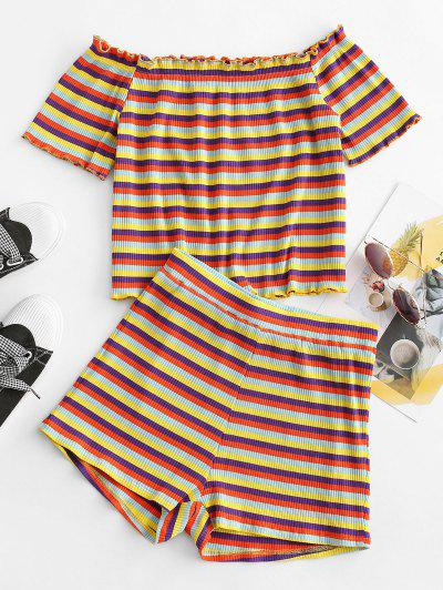 ZAFUL Colorful Stripes Ribbed Off Shoulder Two Piece Set - Multi-a S