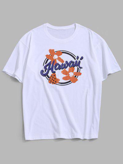Flower Hawaii Graphic Basic T-shirt - White Xl