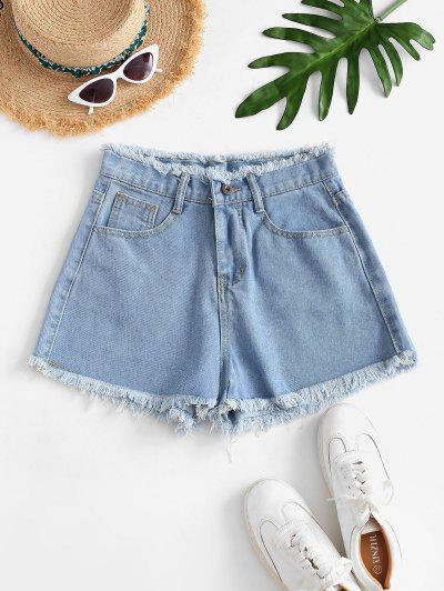 Frayed Hem High-waist Mini Denim Shorts - Light Blue Xs