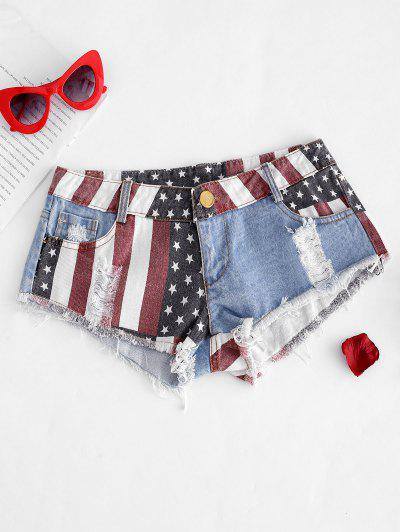American Flag Frayed Ripped Mini Denim Shorts - Blue M