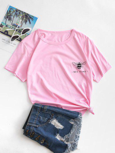 Camiseta Básica Con Estampado De Abeja - Rosado M