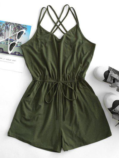 Straps Caged Back Tie Cami Pocket Romper - Army Green M