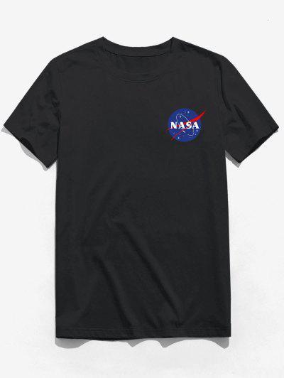 ZAFUL Buchstabedruck T-Shirt Mit Kurzen Ärmeln - Schwarz L
