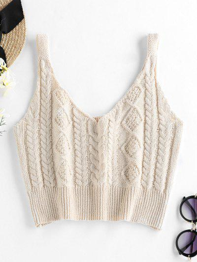 ZAFUL Cable Braided Knit Crop Sweater Tank Top - Apricot S
