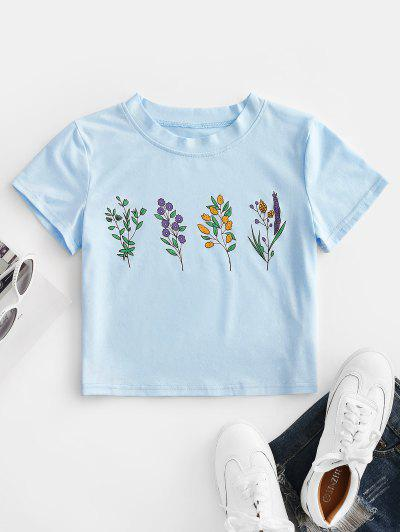 ZAFUL Flower Print Crop T-shirt - Blue Gray L