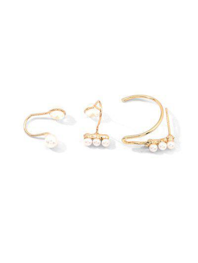 Faux Pearl Cuff Earrings Set - Gold