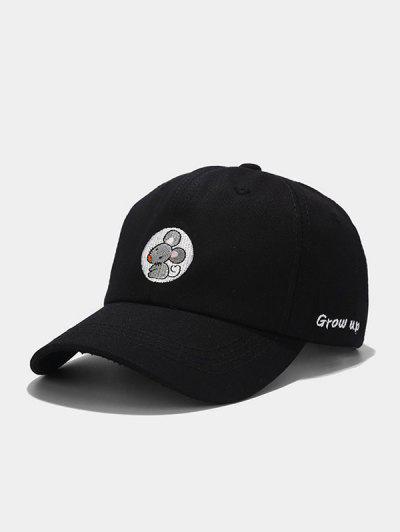 Mouse Embroidery Casual Baseball Cap - Black