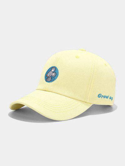 Mouse Embroidery Casual Baseball Cap - Yellow