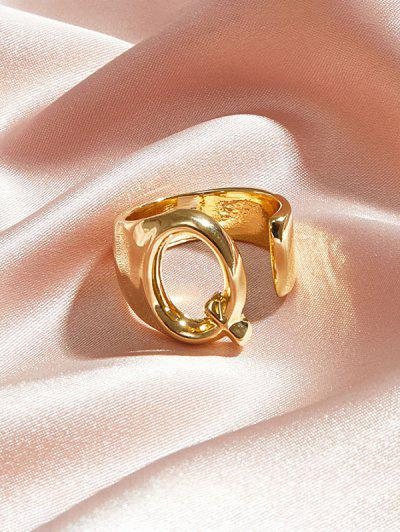 Hollow Out Initial Open Ring - Gold Q