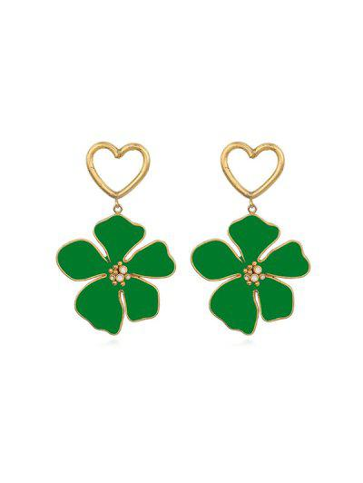 Hollow Out Heart Floral Dangle Earrings - Deep Green