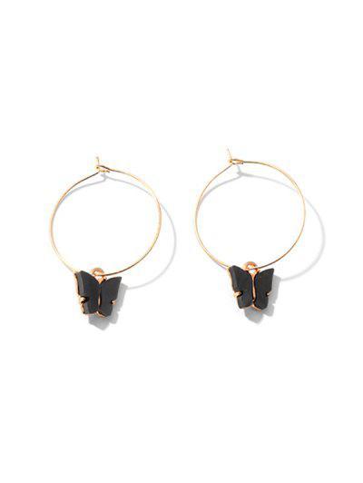 Acrylic Butterfly Hoop Earrings - Black