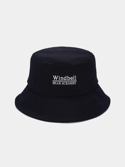 Sombrero De Cubo Casual Con Bordado De Cubo - Negro