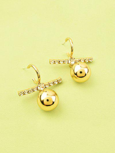 Bar Rhinestone Metal Ball Earrings - Gold