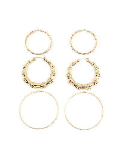 3Pairs Bamboo Rhinestone Exaggerated Hoop Earrings - Gold