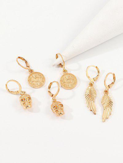 3Pairs Skull Wings Earrings Set - Gold