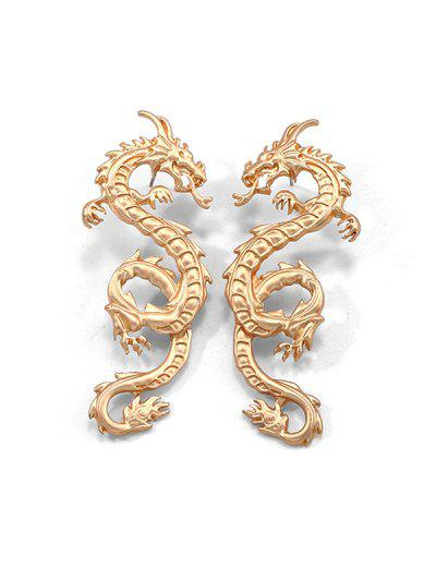 Carved Dragon Stud Earrings - Gold