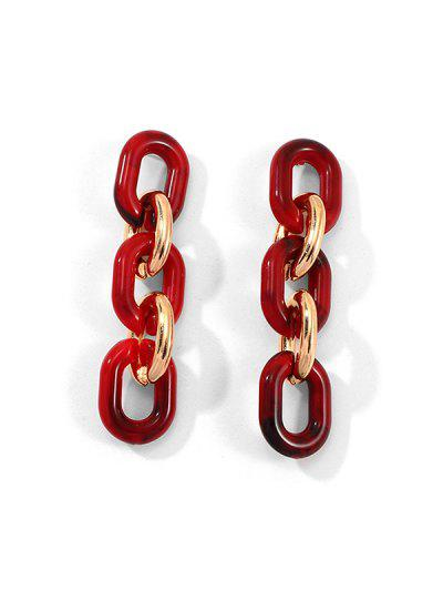 Resin Exaggerated Link Chain Earrings - Red