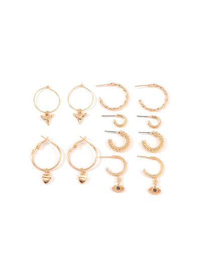 6Pairs Geometry C-shaped Twist Earrings Set - Gold