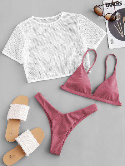 ZAFUL Ribbed High Leg Fishnet Three Piece Swimsuit - Blush Red M