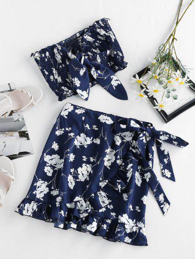 ZAFUL Flower Tied Smocked Ruffle Bandeau Skirt Set - Cadetblue S
