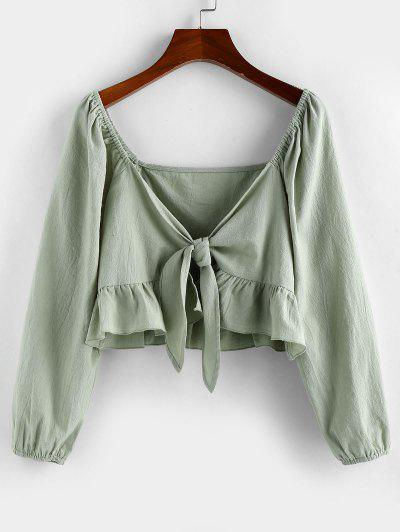 ZAFUL Flounce Tie Front Crop Blouse - Fern Green M