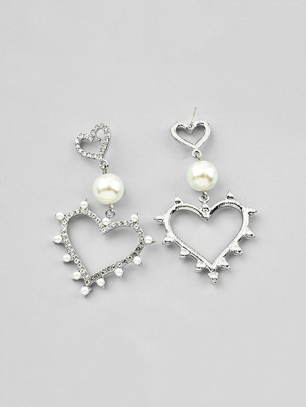 Double Hearts Faux Pearl Rhinestone Earrings