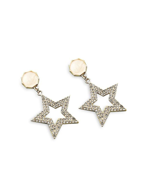 Star Hollow Out Rhinestone Earrings