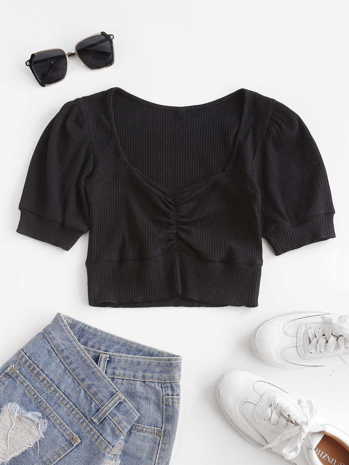 Ruched Ribbed Crop Top